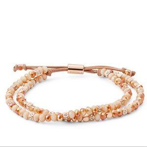 Fossil Rose-Gold Tone Beaded Bracelet